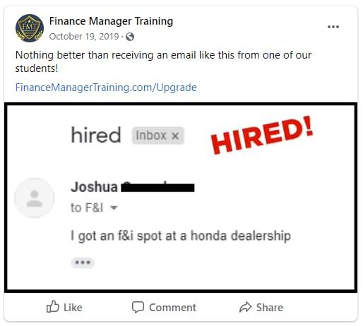 F&I School Hired